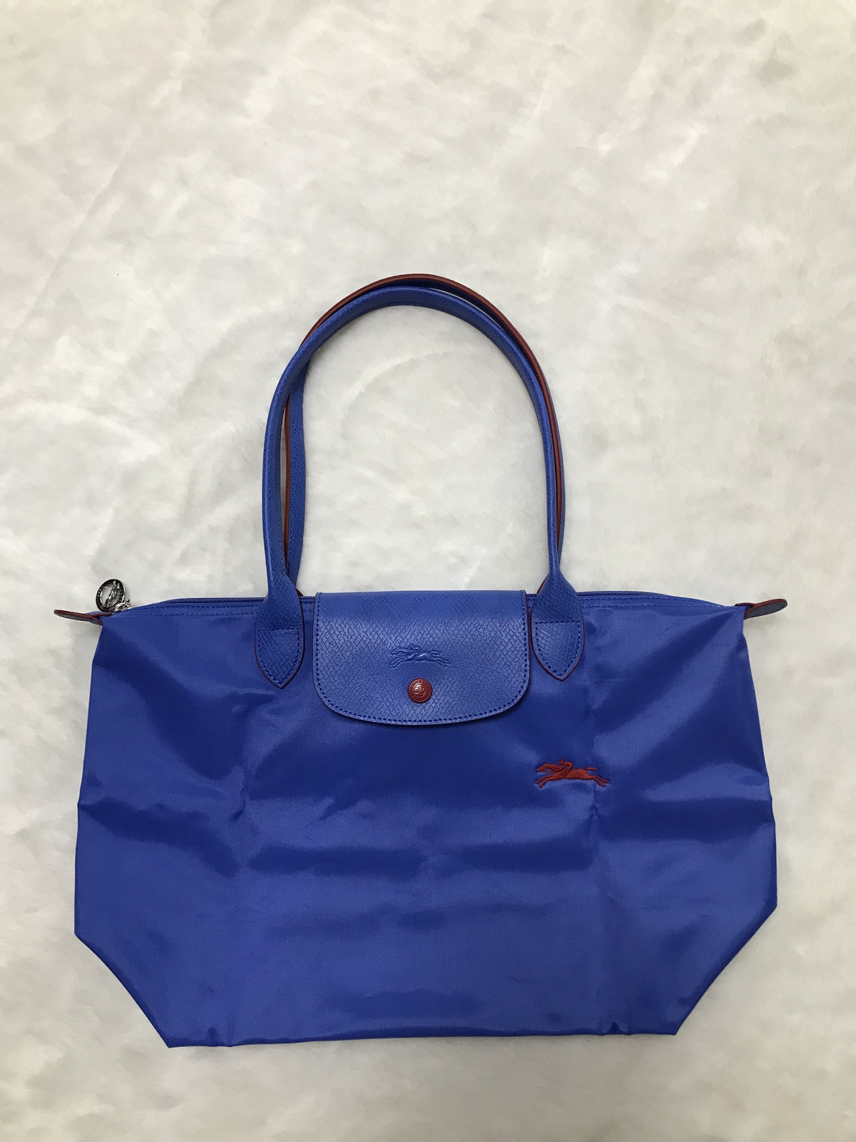 France Longchamp Le Pliage Club Collection Horse Embroidery Small Tote MYOSOTIS
