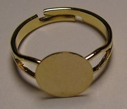 200 GOLD PLATED Adjustable RING BLANKS 10mm pad ~ NICE - $34.64
