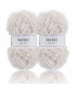 NICEEC 2 Skeins Super Soft Fur Yarn Chunky Fluffy Faux Fur Yarn Eyelash ... - $15.09