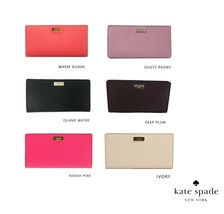 NWT KATE SPADE NEW YORK STACY Newbury Lane Medium Leather Wallet Pink Pl... - $65.34+