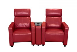 MYCO Furniture Arcadia Red Leather Reclining Home Theater 2 Seats w/Cupholders