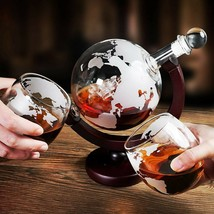 Creative Globe Decanter Set with Lead-free Carafe Exquisite Wood-stand 2... - $66.49