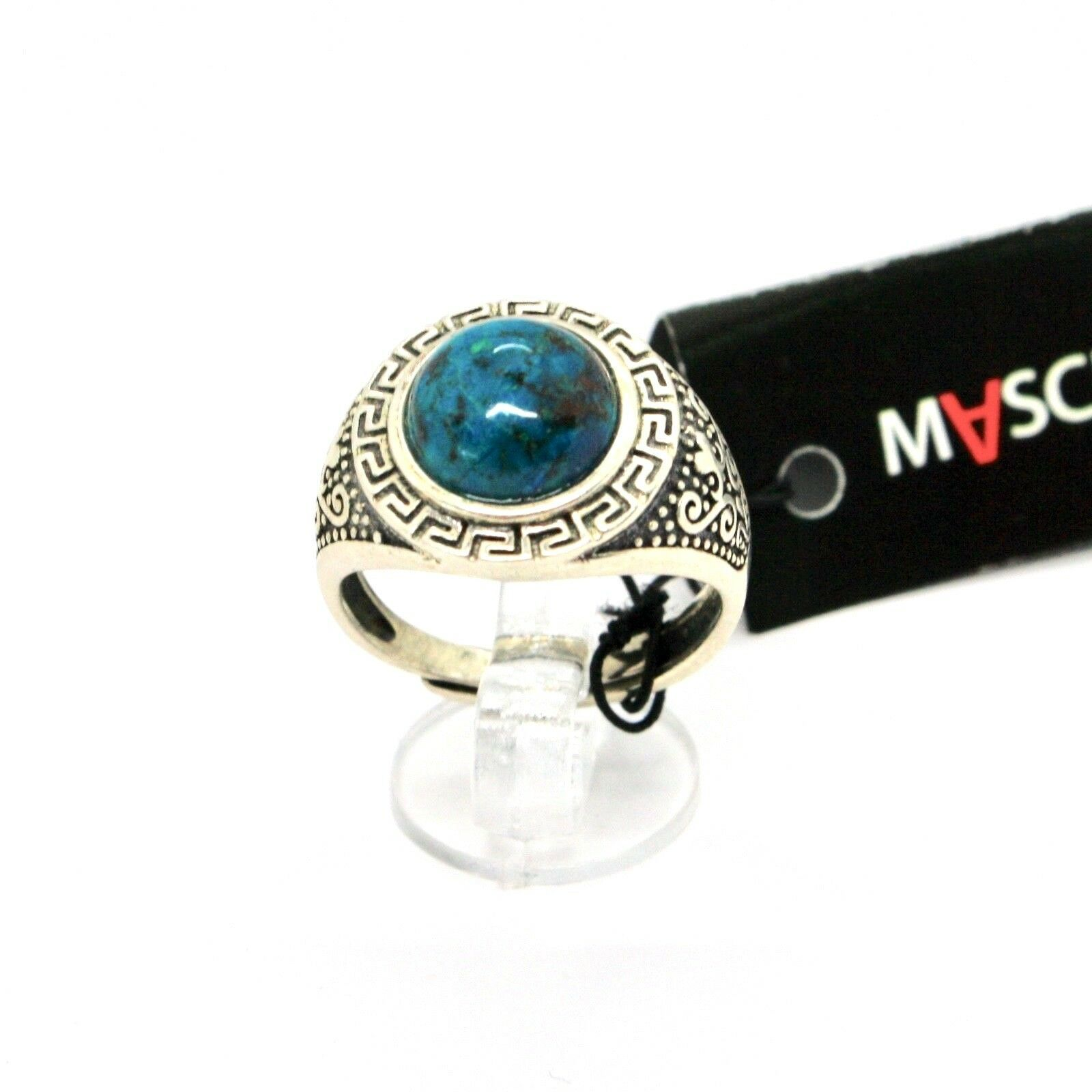 Silver Ring 925 Antique with Chrysocolla Turquoise Made in Italy by Maschia