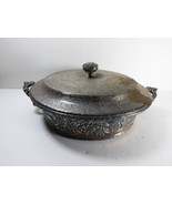 ANTIQUE REPOUSSE SILVERPLATE DUTCH SCENES BOWL HOLDER WITH BEAUTIFUL LID - $67.32