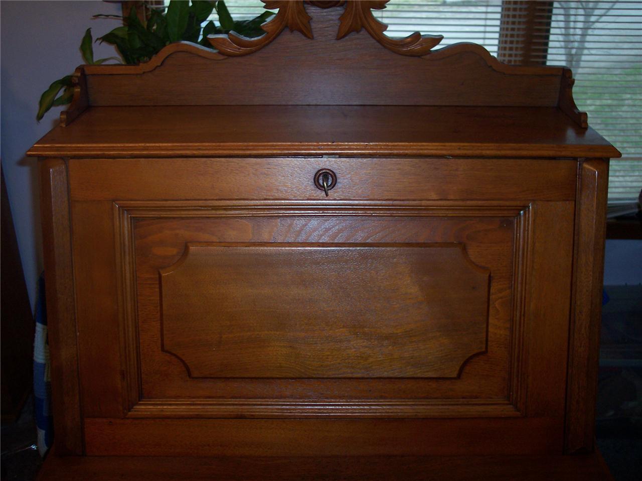 Walnut Carved Drop Front Desk w/ Birdseye Maple Accents