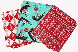 Coca Cola Fountain * Argyle* Script 2000's Fabric Very Nice Quality BTY ... - $23.99