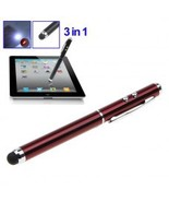 3 in 1 Magic Touch Pen for iPad Mini,iPad 2,iPad 3,iPhone/Stylus pen (red) - $3.50