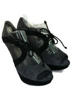Stuart Weitzman Gray & Black Suede Leather Caged Tie Lace Open Toe Heels... - $44.55