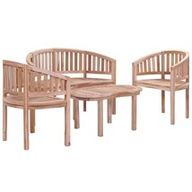 vidaXL Solid Teak Wood Garden Lounge Set 4 Piece Outdoor Patio Bench Fur... - $468.99
