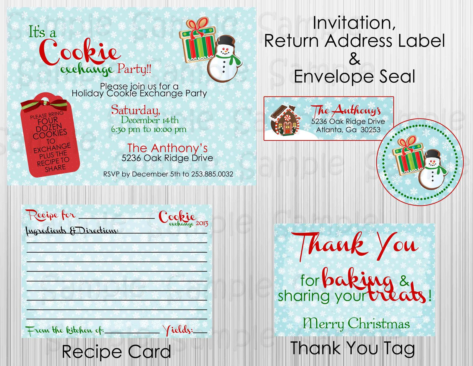 Cookie Exchange Party Package: Complete Printable Package, Invitation included for sale  USA