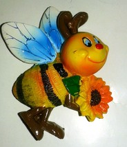 Ceramic Glossy Magnet Easter Spring Bee Flowers Ostern Home Decor Happy ... - $6.62