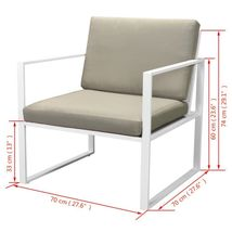 vidaXL Patio Garden Sofa Set 2 Armchairs 2-Seater Sofa Coffee Table w/ Cushions image 8
