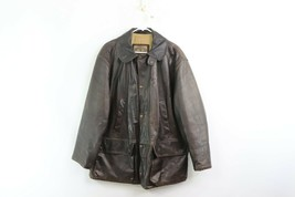 Vintage 90s Armani Mens Size 34 Distressed Leather Hunting Jacket Coat B... - $188.05