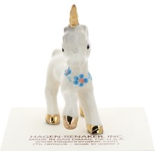 Hagen-Renaker Miniature Ceramic Unicorn Figurine Baby with Flowers image 2