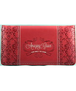 """Checkbook Cover Soft Coral """"Amazing Grace"""" Debossed Lux Leather Brand NEW - $13.14"""