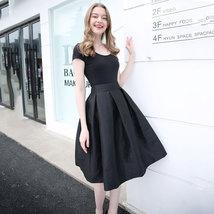 Women BLACK A-Line Ruffle Skirt Lady Taffeta High Waist Midi Pleated Party Skirt image 3