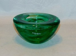 Kosta Boda Deep Green Contrast Glass Round Candle Votive - $18.81