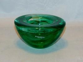Kosta Boda Deep Green Contrast Glass Round Candle Votive - $18.81