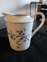 White Creamer Pitcher Blue/White Flowers   Decors de France made China Notre Dam image 1