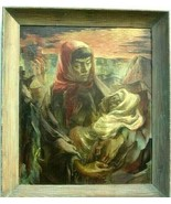 1951 Mildred Olmes Signed Original Oil Painting Madonna Of The Strip Min... - $3,559.54
