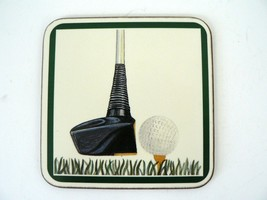 VTG Pimpernel Set 6 Coasters Driver Golf Club w Ball On Tee Cork Backed ... - $17.00