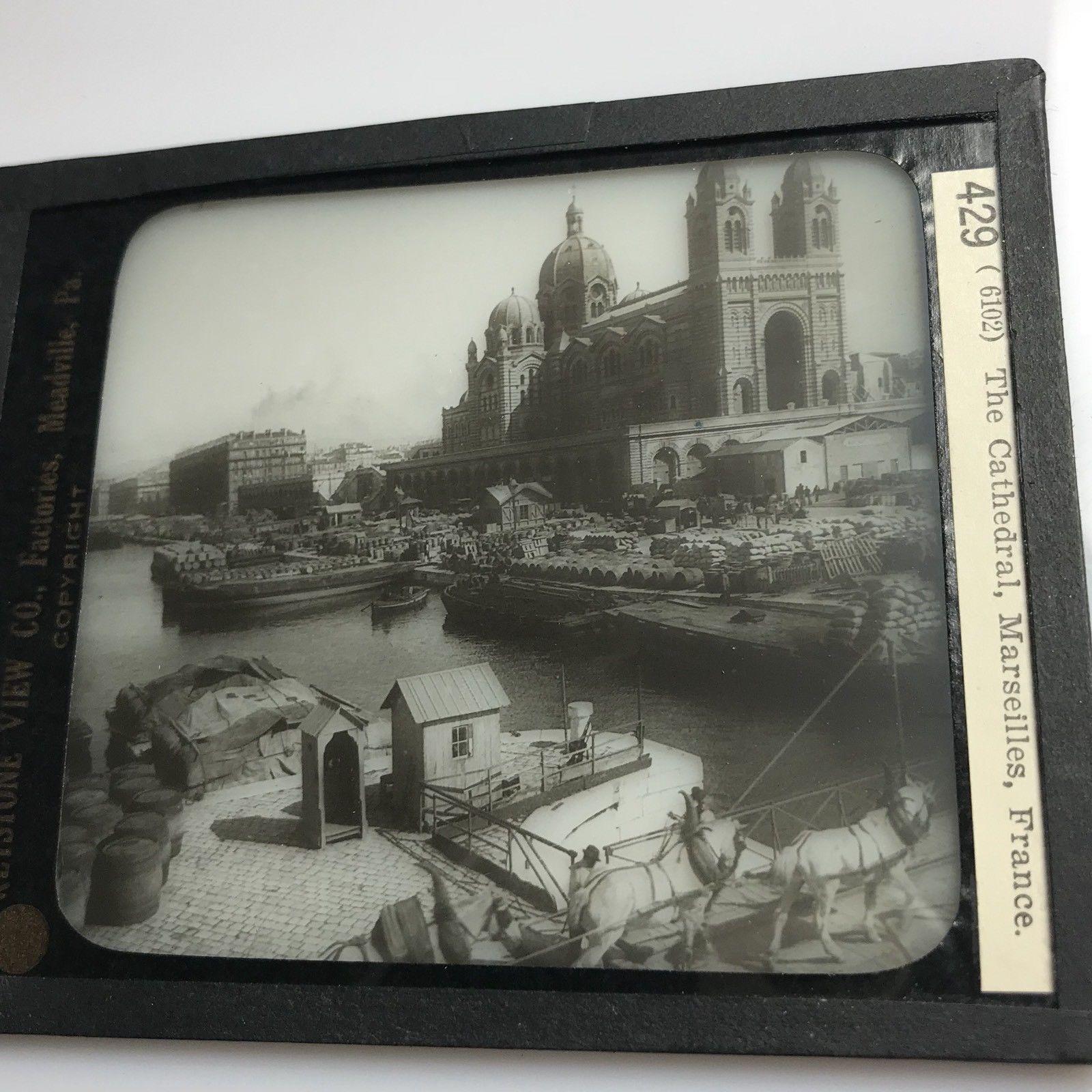 Vtg Keystone Magic Lantern Slide Photo Marseilles France Harbor Boats Cathedral