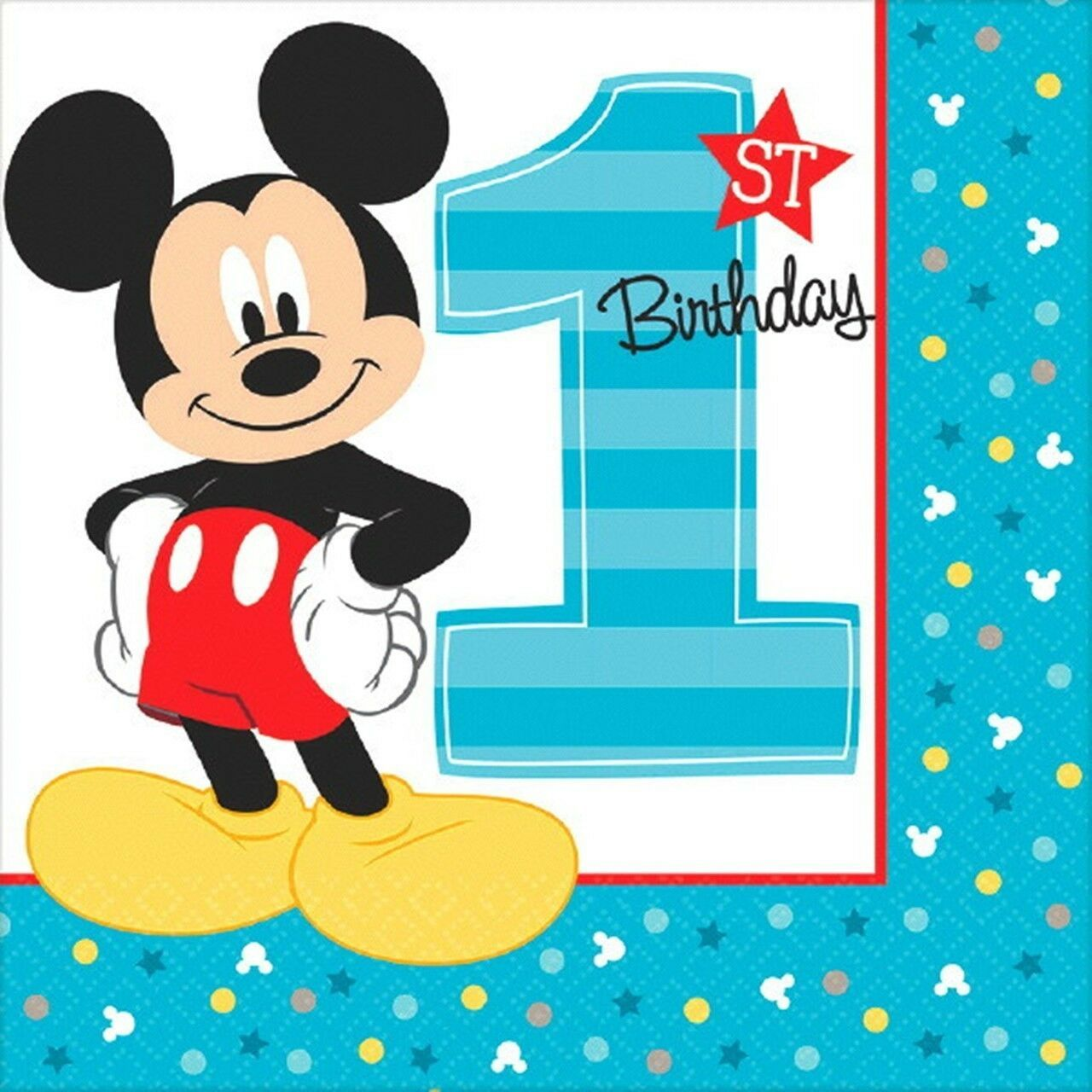 Mickey Mouse Fun to Be One 16 Luncheon Napkins 1st Birthday Party