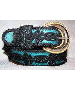 Elite Bright Green Genuine Leather and Black Soutache Belt Size Large - 32 - $45.00