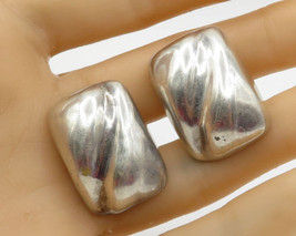 MEXICO 925 Sterling Silver - Vintage Concave Path Puffy Clip On Earrings - E1754 - $77.24