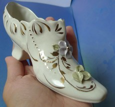 Old Porcelain Collectibles Shoe high heel figurine with gold trim flower... - $12.00