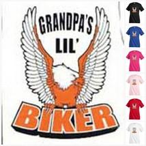 GRANDPA`S LIL` BIKER eagl T-shirt Kid's Children Unisex Girl Boy Funny K... - $13.99