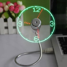 New USB Gadget Mini Flexible LED Light USB Fan Time Clock Desktop Clock ... - £5.07 GBP