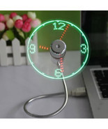 New USB Gadget Mini Flexible LED Light USB Fan Time Clock Desktop Clock ... - $6.69