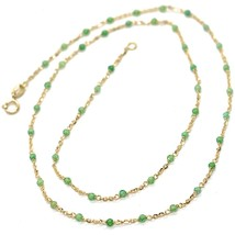 NECKLACE YELLOW GOLD 18K 750, CUBIC ZIRCONIA GREEN, FACETED, CHAIN ROLO' OVAL image 1