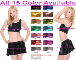 Sexy Two Piece Vest and Mini Skirt New 15 Color Shiny Metallic Women Dress S939 - $36.99