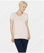 H by Halston Essentials V-Neck Top with Forward Notch Detail Pure Pink, ... - $17.81