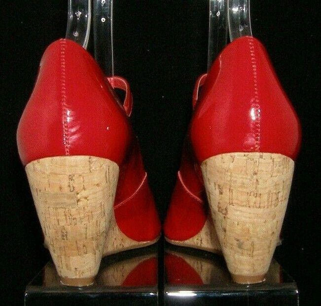 Franco Sarto 'Fashioni' red patent leather peep toe mary jane cork wedges 8M image 4