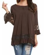 Soteer Women Casual Boho Lace O-Neck 3/4 Sleeves Shirt Blouse Top (10 Co... - $20.56+