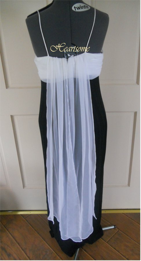 Elegant 50's style formal dress Vintage glam starlet  Black white Hollywood