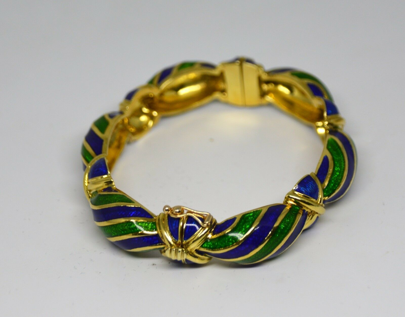 Vintage Tiffany & Co Blue Green Enamel & 18K yellow Gold Hinged Curved Bangle
