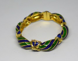 Vintage Tiffany & Co Blue Green Enamel & 18K yellow Gold Hinged Curved B... - $6,435.00