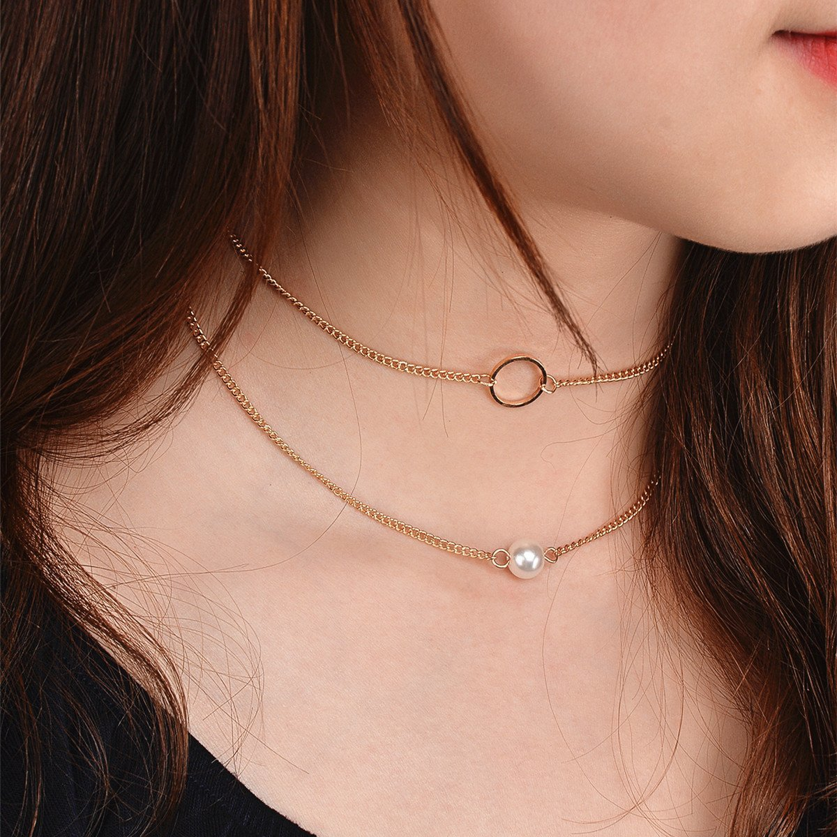 Fashion Simple Pear Multi-layered Choker Necklace