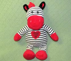 "14"" Jesus Loves Me Plush Zebra Goffa Black White Stripes Red Toy Stuffed Animal - $17.82"