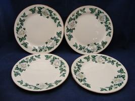 """4 Homer Laughlin Eggshell Nautilus Windsor White Roses 7 3/8"""" Salad Plates - $24.95"""