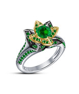 Lotus Design Womens Green Sapphire Engagement Ring 14k Two Tone Over 925... - $82.99