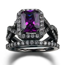 Black Silver Plated Rings Sets White Purple Color Square Zircon Trendy N... - $8.10