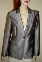 Women's CALVIN KLEIN Shimmering Silver Gray Lined Dress Jacket Blazer (6... - $29.30