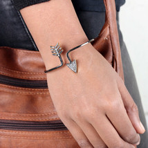 Sign Shape Bangle Bracelet 0.82Ct Diamond 14K Yellow Gold 925 Sterling S... - $360.91