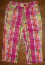 disney princess pink orange green plaid capris pants size 6 girls - $4.02