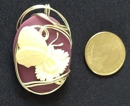 Purple and White Butterfly Cameo - $45.00